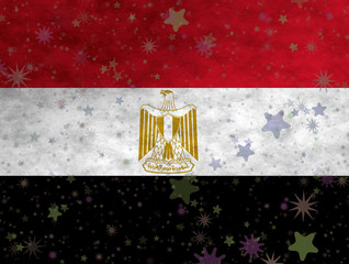 Illustration of an Egyptian Flag with small stars scattered arond