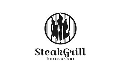 barbecue restaurant logo, poster. BBQ trendy logo with barbecue grill , spatula and grill fork. Vector emblem template. - Vector