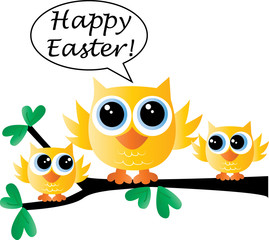 happy easter a sweet little yellow bird family