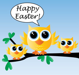 happy easter cute yellow owls