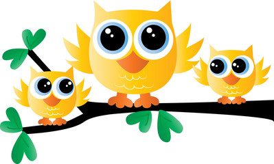 a sweet little yellow owl family sitting on a branch