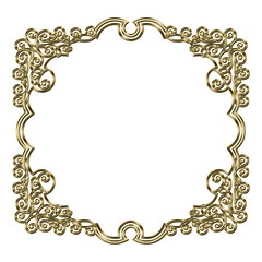 Baroque tones, metal texture vintage design frames, decorative ruffles, background バロック調のメタリックのフレーム・飾り罫