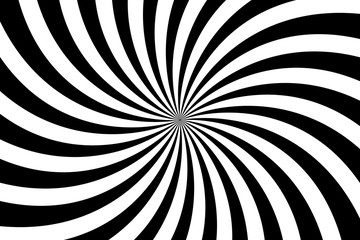 Vector simple black and white background. Spiral stripes in retro pop art style