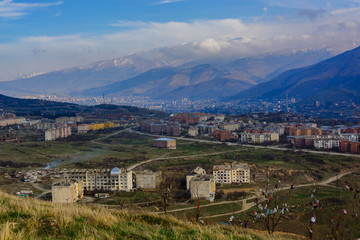 Panoramic view of the outskirts of Vanadzor, Armenia