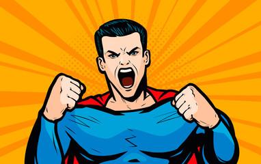 Superhero with fists. Pop art retro comic style. Cartoon vector illustration