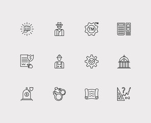 Legal icons set. Insurance and legal icons with scroll, handcuff, cowboy. Set of building for web app logo UI design.