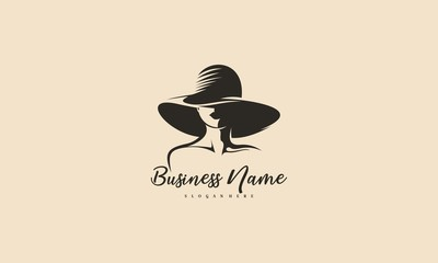 Beautiful woman's face logo design template. Hat, girl,symbol. Abstract design concept for beauty salon, fashion,massage, magazine, cosmetic and spa. Premium vector icon. - Vector