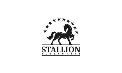 stallion logo design template,horse logo vector illustration