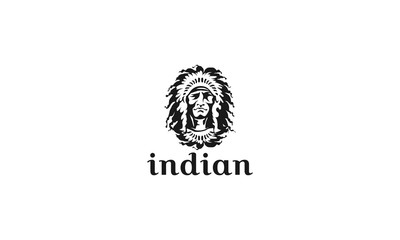 Face of indian chief. Vector illustration - Vector