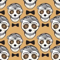 Vector Seamless pattern Gold Calavera skull with bow tie. Hand drawn Virile male design texture