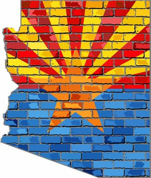 Arizona map on a brick wall - Illustration,   The state of Arizona map with flag inside
