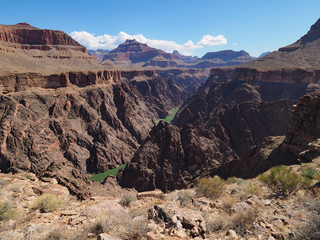 View of the Colorado River and the inner canyon from the Tonto Trail in Grand Canyon National Park, Arizona.
