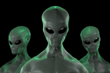 Poster UFO A 3D rendered image of a group of humanoid alien creatures isolated on black background