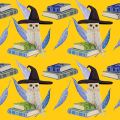 gouache seamless pattern with white owl on a magic books
