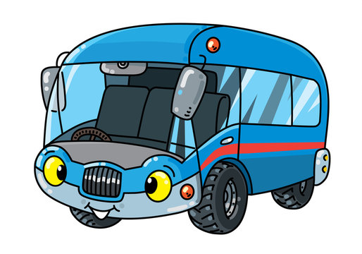 Funny small bus or van with eyes
