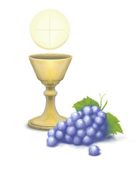 hostia komunia winogrona fioletowe