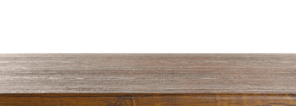 Empty wooden table on white background. Mockup for design