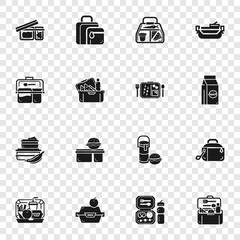 Lunchbox icon set. Simple set of lunchbox vector icons for web design