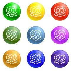 Heart pretzel icons vector 9 color set isolated on white background for any web design