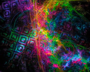 abstract digital fractal, beautiful design, party
