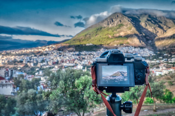 Camera taking a panoramic view of Chefchaouen, (or Chaouen), Morocco