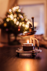 Candle with incense, aroma, Christmas time