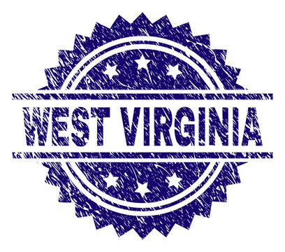 WEST VIRGINIA stamp seal watermark with distress style. Blue vector rubber print of WEST VIRGINIA title with dirty texture.