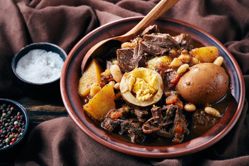 close-up of Traditional Jewish Cholent in a bowl