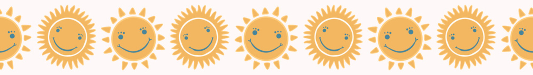 Cute cartoon sun with happy smiling face. Hand drawn seamless repeat border. Day sunset, sunrise, warm weather banner ribbon illustration for baby or kids.