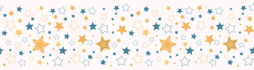 Cute vector cartoon starry sky. Hand drawn seamless repeat border. Night time magical cosmic space banner ribbon. Elements illustration for baby or kids.