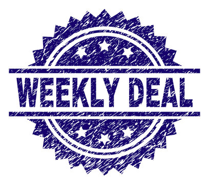 WEEKLY DEAL stamp seal watermark with distress style. Blue vector rubber print of WEEKLY DEAL title with retro texture.