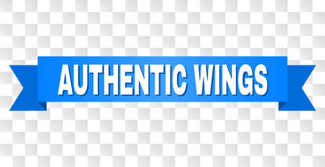 AUTHENTIC WINGS text on a ribbon. Designed with white title and blue stripe. Vector banner with AUTHENTIC WINGS tag on a transparent background.