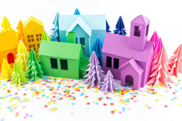 Advent calendar for baby rainbow color. House and Christmas tree paper hack.