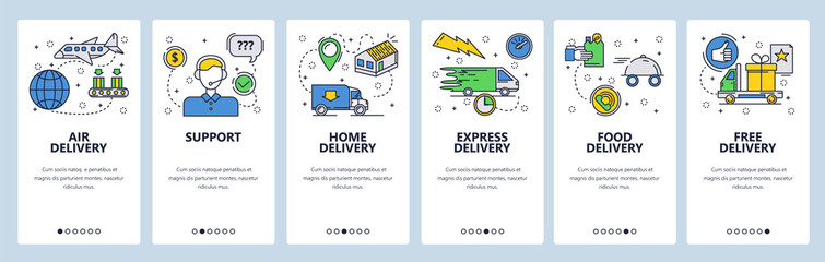 Wall Mural - Web site onboarding screens. Home express and air delivery. Menu vector banner template for website and mobile app development. Modern design linear art flat illustration.