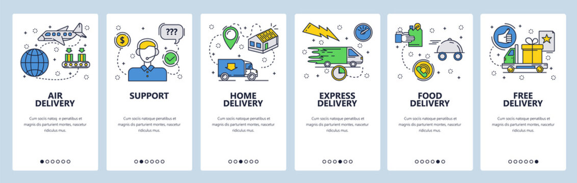 Web site onboarding screens. Home express and air delivery. Menu vector banner template for website and mobile app development. Modern design linear art flat illustration.
