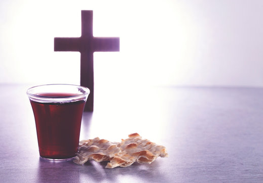 The Holy Communion of the Christian Faith of Wine and Unleavened Bread