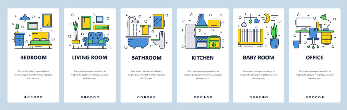 Web site onboarding screens. House interior, bedroom, living room, bathroom. Menu vector banner template for website and mobile app development. Modern design linear art flat illustration.
