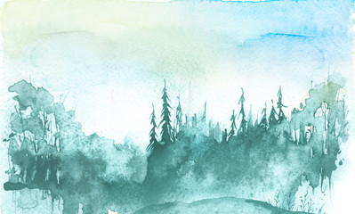 Watercolor winter landscape, picture. Picture of a pine forest, a blue silhouette of trees and bushes. Countryside landscape