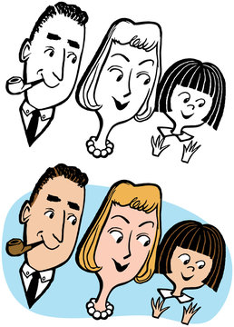 A cartoon of a family with a father mother and daughter