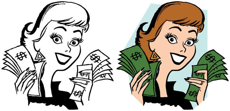 A happy woman holding handfuls of dollar bills.