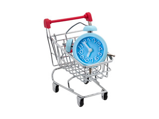 "The cart has a blue clock indicating ""8.00"" clock on white isolate background with Clipping path."