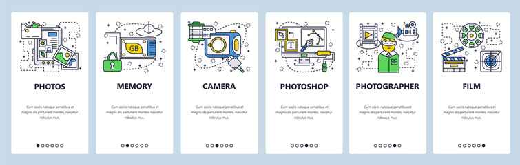 Web site onboarding screens. Photo camera, memory card, photos editing software. Menu vector banner template for website and mobile app development. Modern design linear art flat illustration.