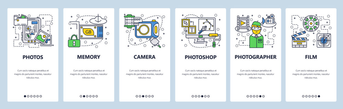 Web site onboarding screens. Photo camera, memory card, photos editing software. Menu vector banner template for website and mobile app development. Modern design linear art flat illustration.