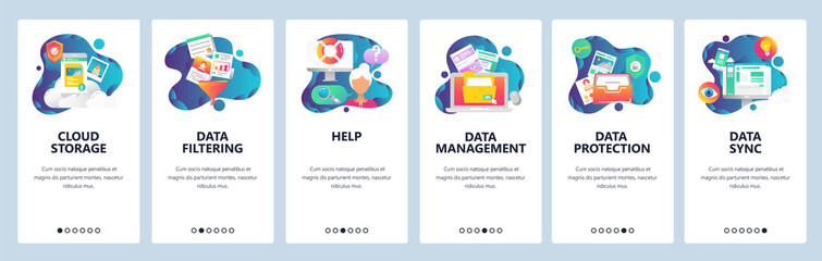 Web site onboarding screens. Computer and internet services, cloud storage and data sync. Menu vector banner template for website and mobile app development. Modern design linear art flat illustration
