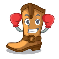Boxing cowboy boots in the shape cartoon