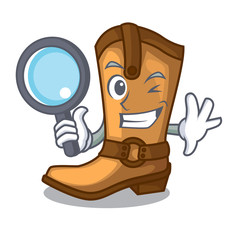 Detective cowboy boots isolated in the mascot
