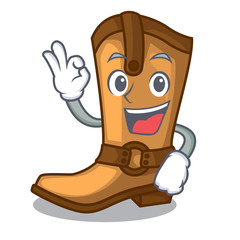 Okay cowboy boots isolated in the mascot