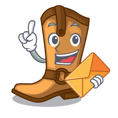 With envelope cowboy boots isolated in the mascot