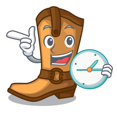 With clock cowboy boots isolated in the mascot