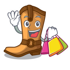 Shopping cowboy boots isolated in the mascot